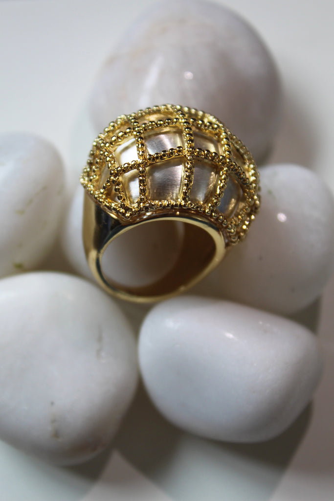 Yellow Gold & White Queenly Pearl Ring