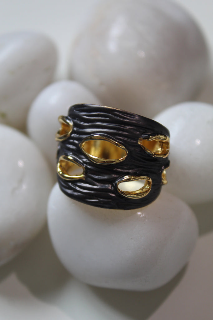 18K Black & Yellow Gold Plated Dolce Ring