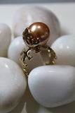 18K Gold Plated Champagne Pearl Aya Ring