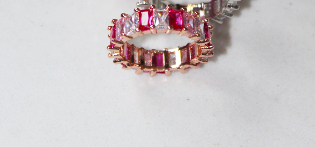 18K Gold Plated Multi Colour (Pink) Eternity Ring