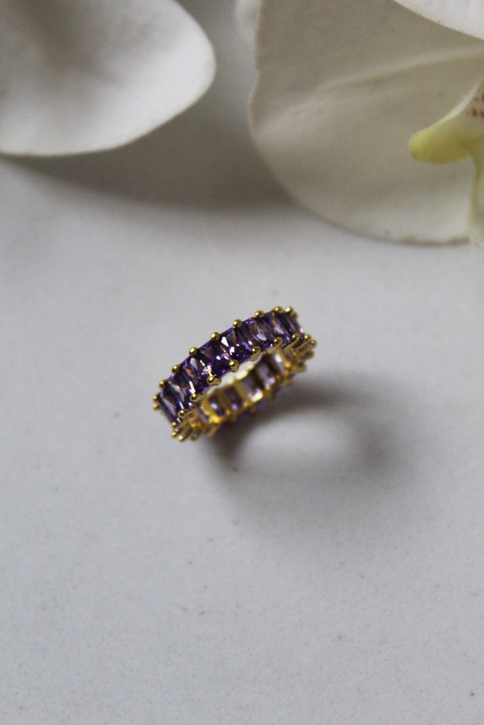 18K Gold Plated Light Purple Eternity Band