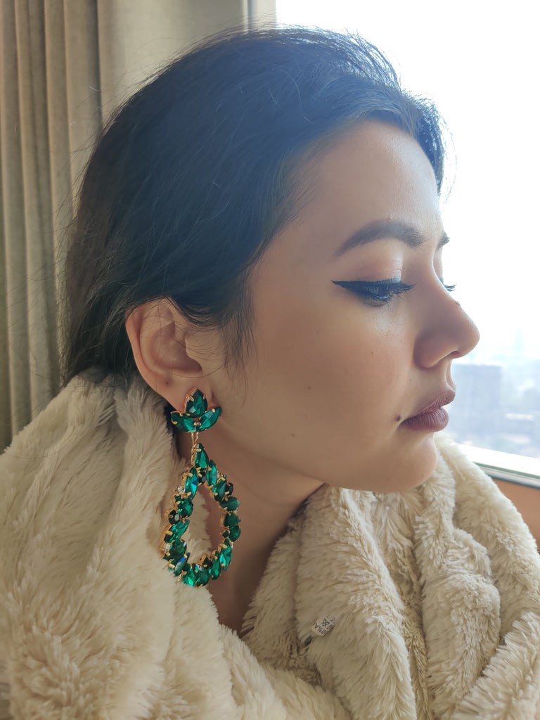 Green Crystal Tala Earrings