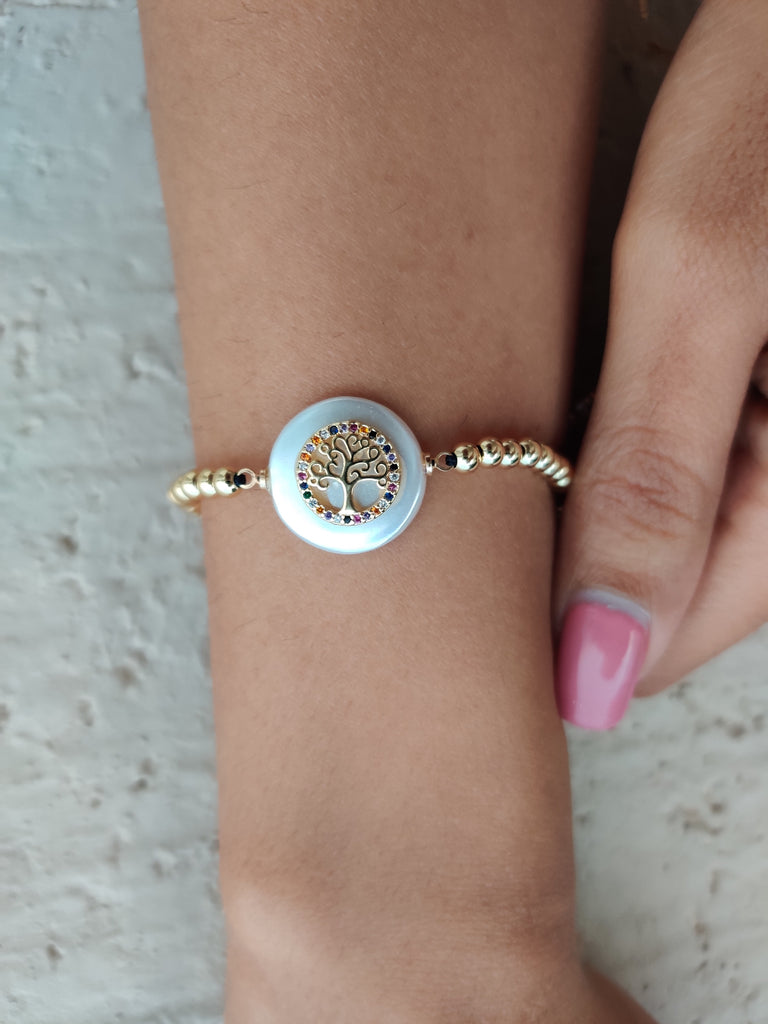 18K Yellow Gold Plated Tree of Life Slider Bracelet
