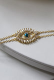 18K Yellow Gold Plated Crystal Evil Eye Bracelet