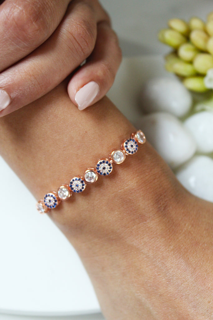 18K White Gold Plated Avni Evil-Eye Slider Bracelet