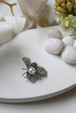 White Gold Pearl Butterfly Brooch