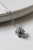 18K White Gold Plated Rose Necklace