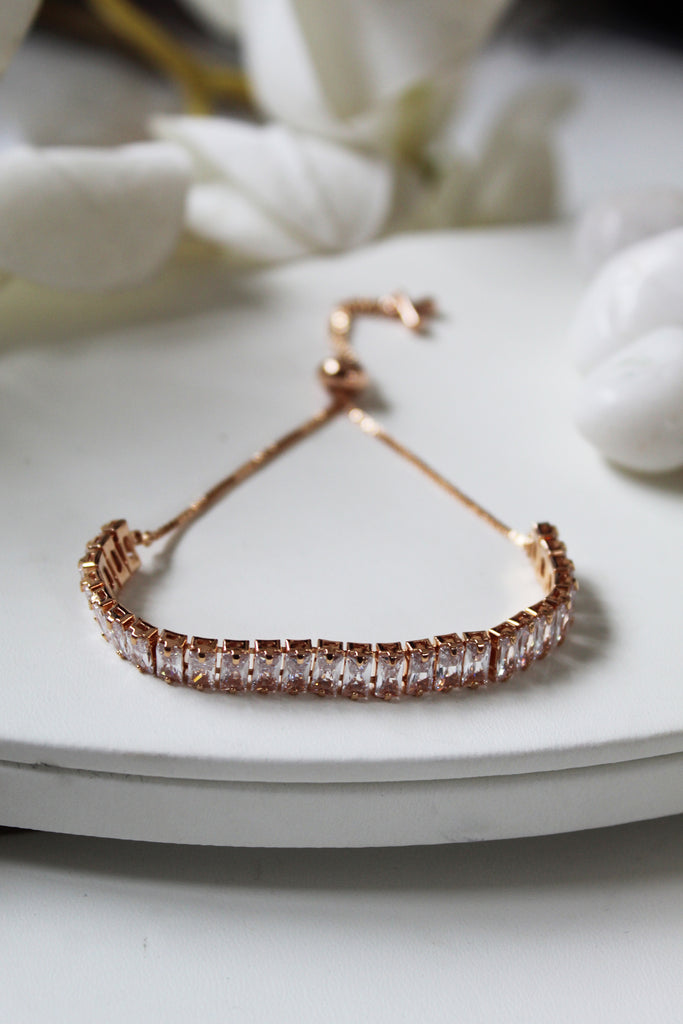 18K Rose Gold Plated Tennis Slider Bracelet