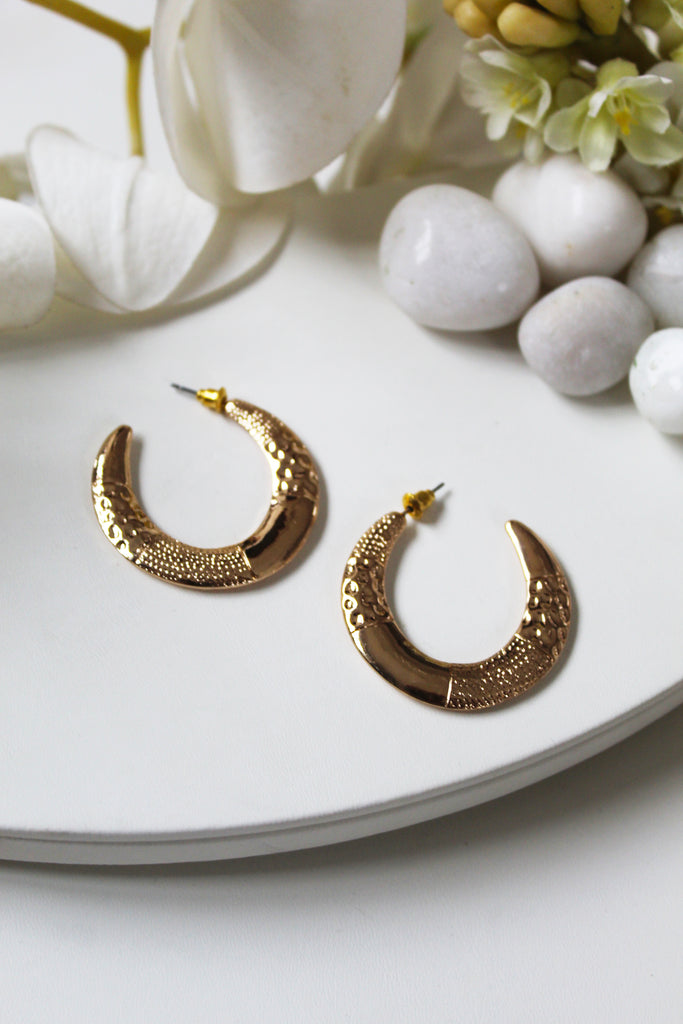 Yellow Gold Plated Half Moon Hoops