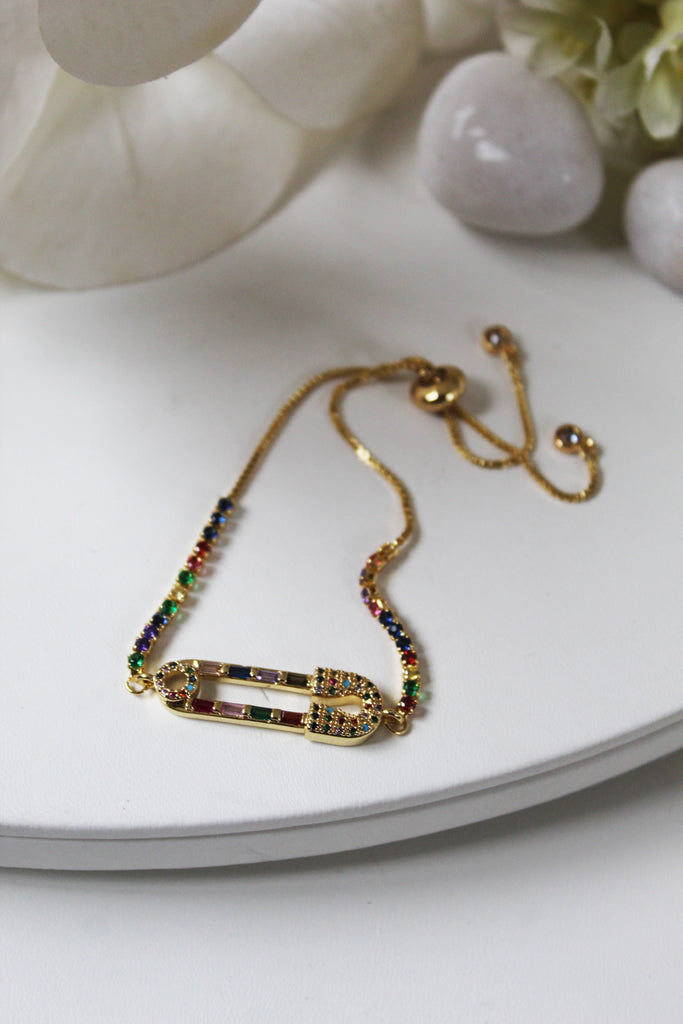 18K Gold Plated Rainbow Safety Pin Bracelet