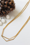 Yellow Gold Long Facet Necklace