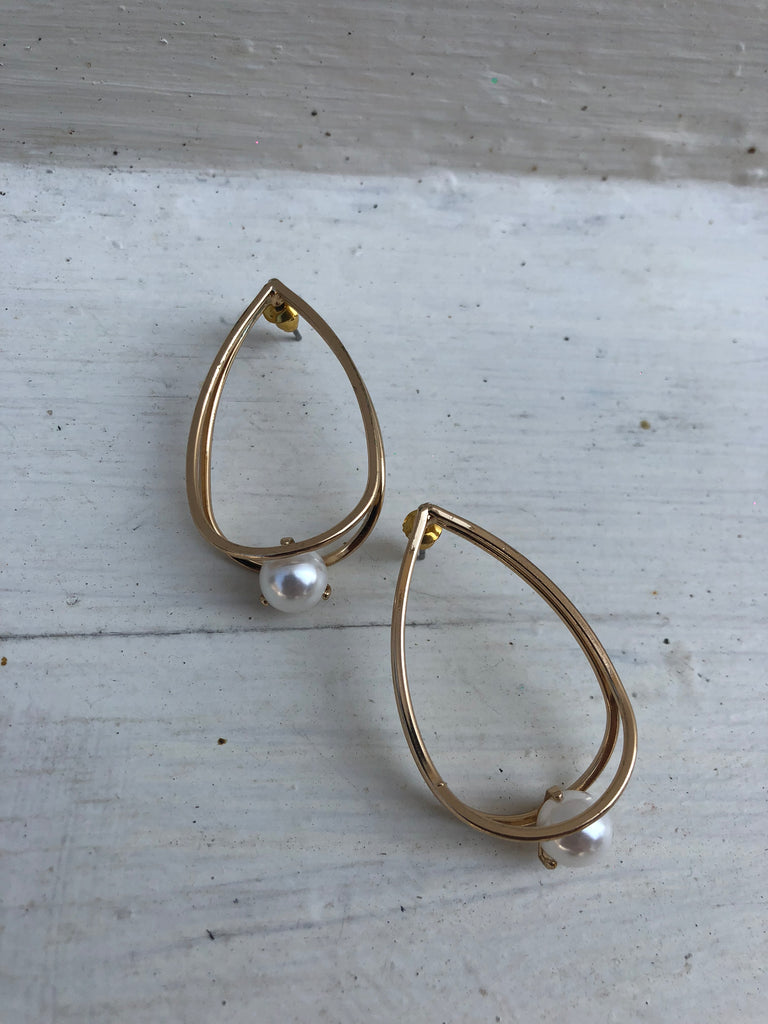 Yellow Gold Plated Alizah Pearl Earrings