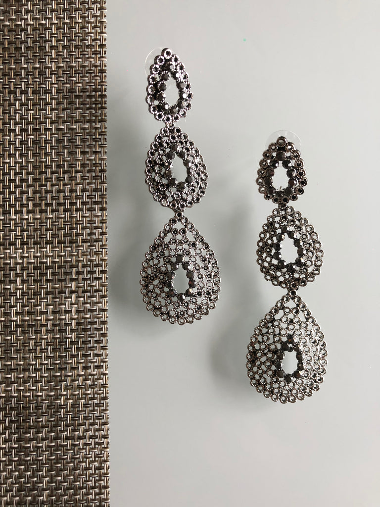 Grey Crystal Cascading Drop Earrings