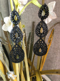Black Crystal Cascading Drop Earrings