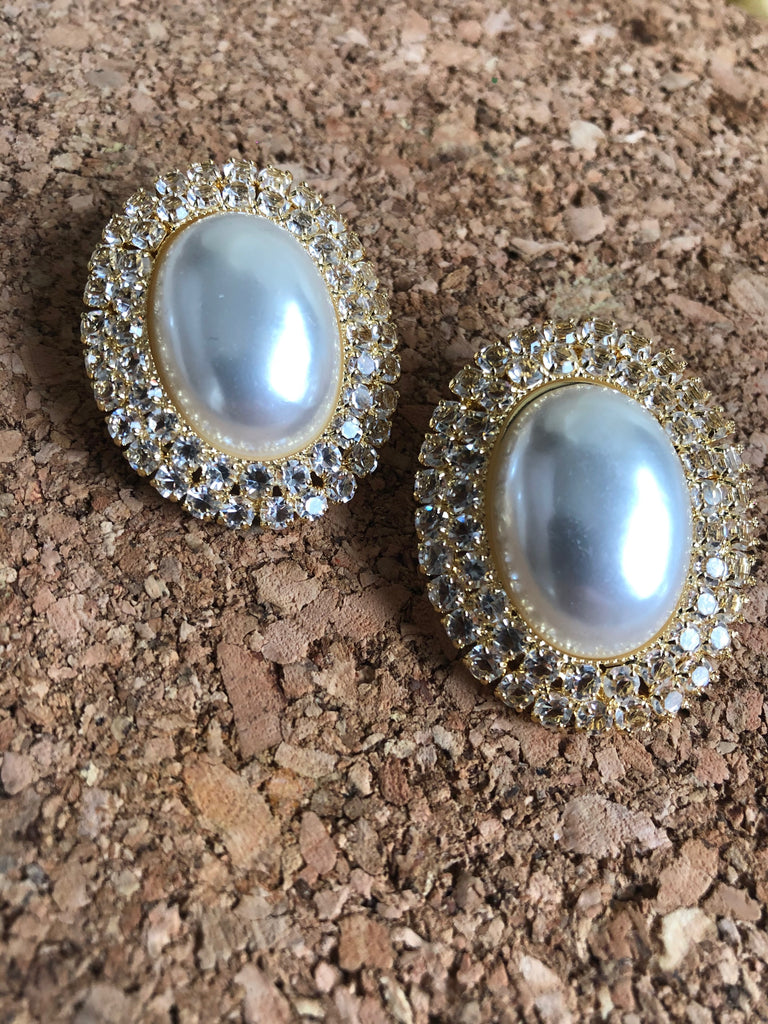 Yellow Gold Crystal Diana Pearl Earrings