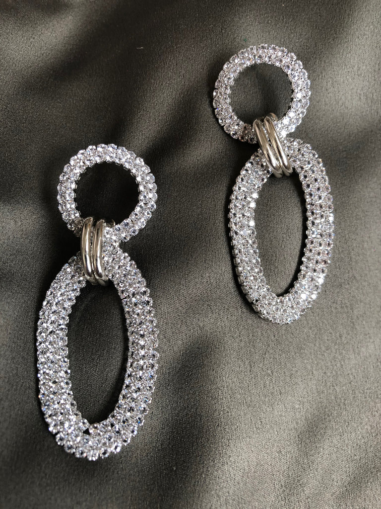 White Crystal Dancing Drop Earrings