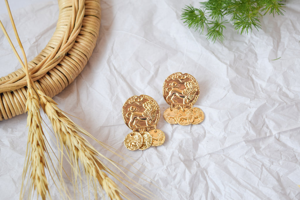 Yellow Gold Coin Drop Earrings