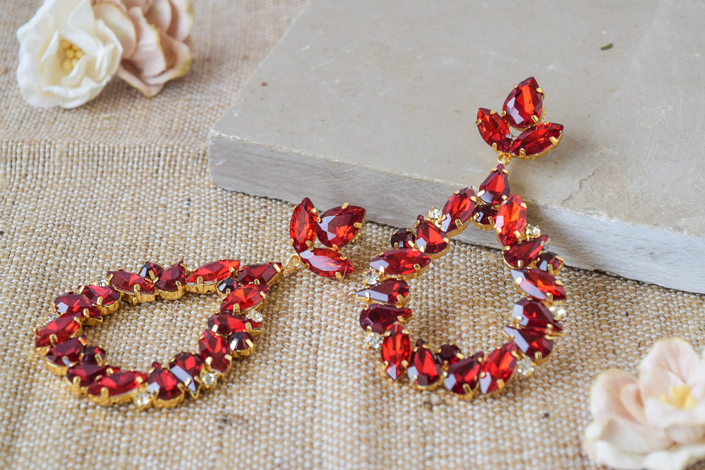 Red Crystal Tala Earrings