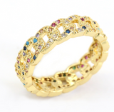18K Gold Plated Rainbow Chain Ring