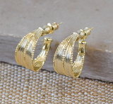 Yellow Gold Textured Hoop Earrings