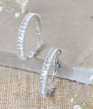 White Crystal Baguette Fifi Hoop Earrings