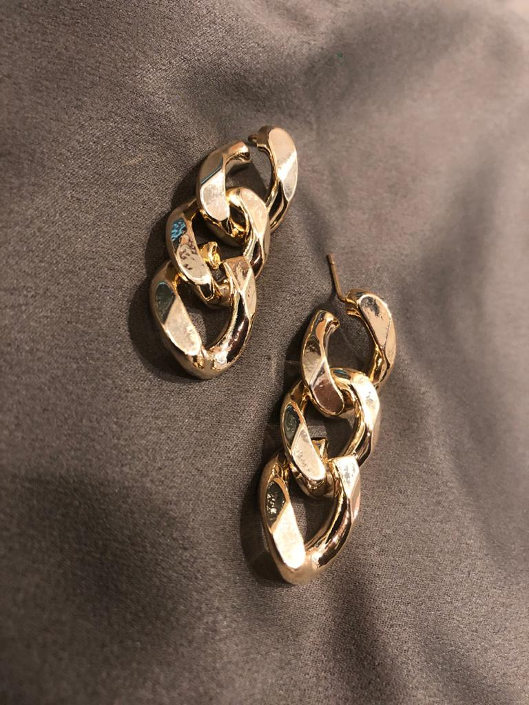 Gold Chain Tiara Earrings