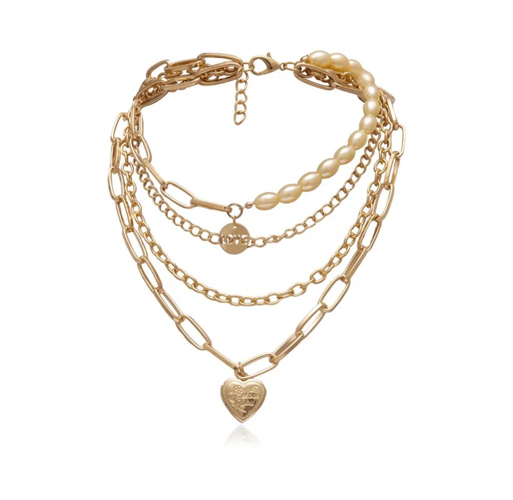 4 Layered Yellow Gold Amore Necklace