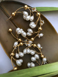 18K Yellow Gold Plated & Pearl Garden of Love Hoop Earrings