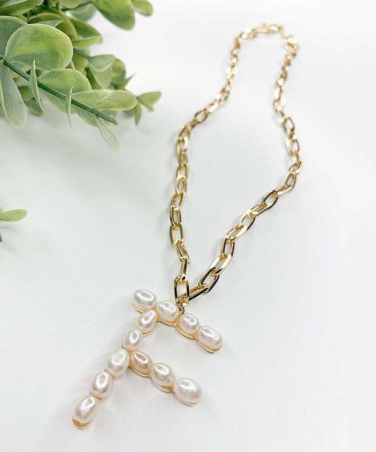 "Pearl Lola ""F"" Initial Necklace"