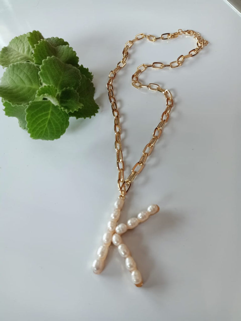 "Pearl Lola ""K"" Initial Necklace"