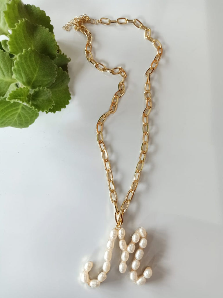 "Pearl Lola ""M"" Initial Necklace"