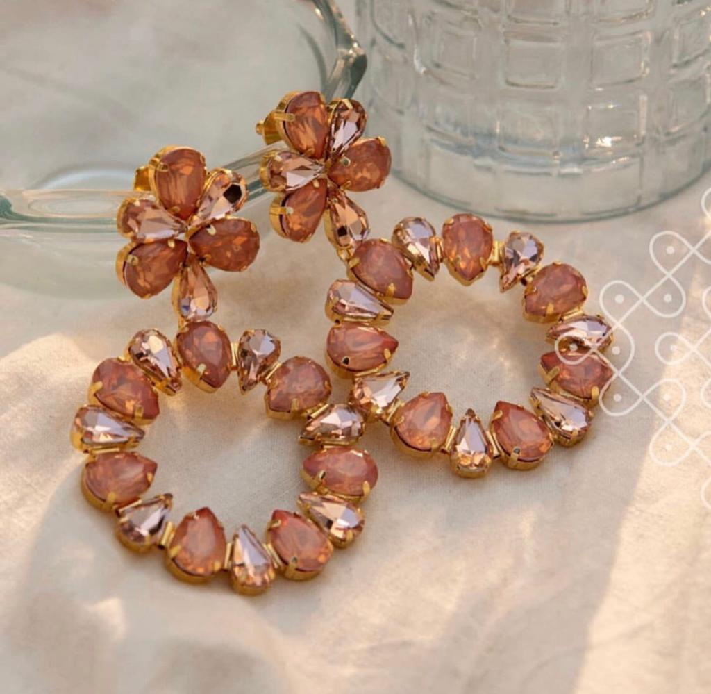 Orange Crystal Kiara Earrings