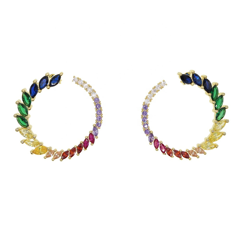 18K Gold Plated Circle of Colour Earrings