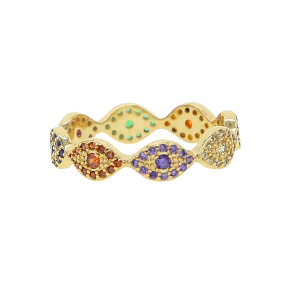 18K Gold Plated Evil Eye Eternity Ring
