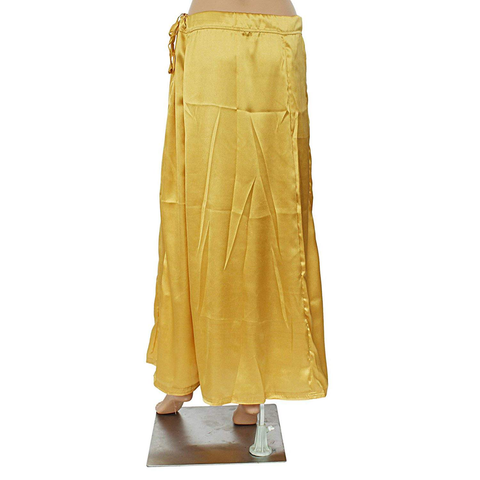 Lycra Fabric Women Solid Petticoat (Gold)