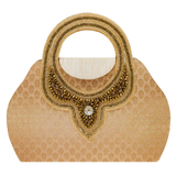Ethnic embroidery Silk Clutch Bag (Dark Gold) - Bagaholics Gift