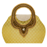 Ethnic embroidery Silk Clutch Bag (Yellow) - Bagaholics Gift