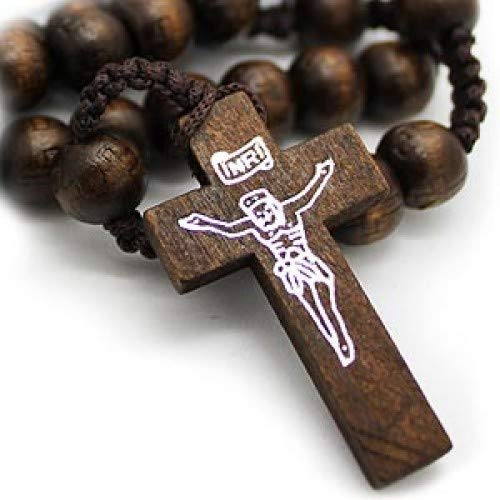 Jesus Crucifix Wooden Beads Jesus Rosary with Cross Pendant - Bagaholics Gift