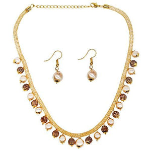Diamond Gold and Pearl Choker Necklace with Earrings - Bagaholics Gift