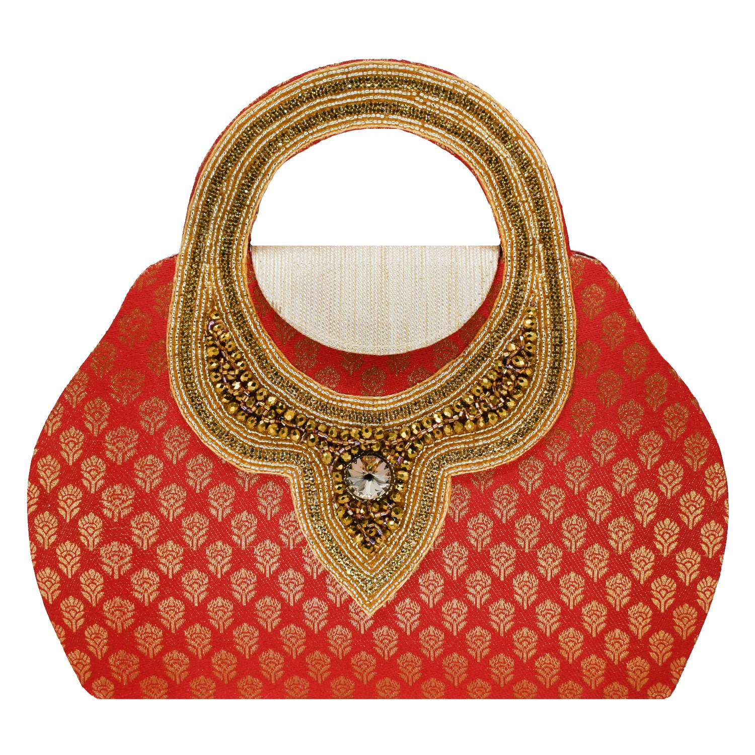 Ethnic embroidery Silk Clutch Bag (Red) - Bagaholics Gift