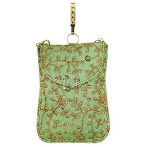 Raw Silk Mobile Pouch with Golden Chain and Waist Clip