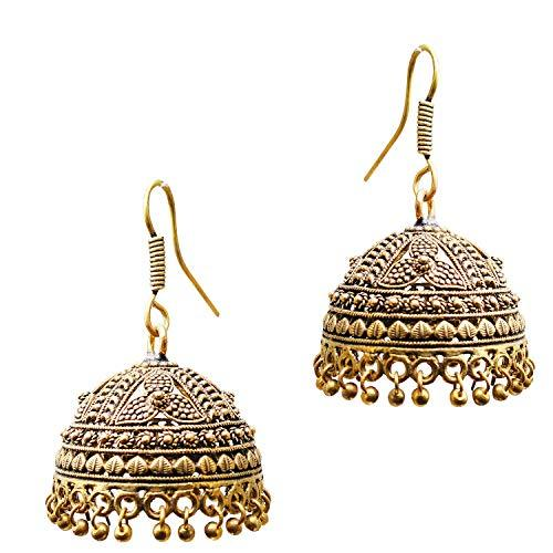 Antique Gold Plated Jhumka Jhumki Earrings - Bagaholics Gift