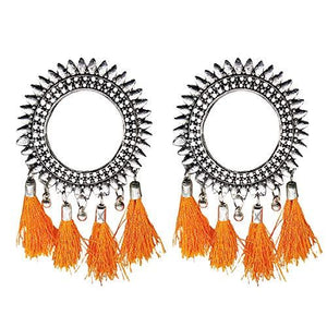 Oxidised Silver Tassel Chandbali Earrings