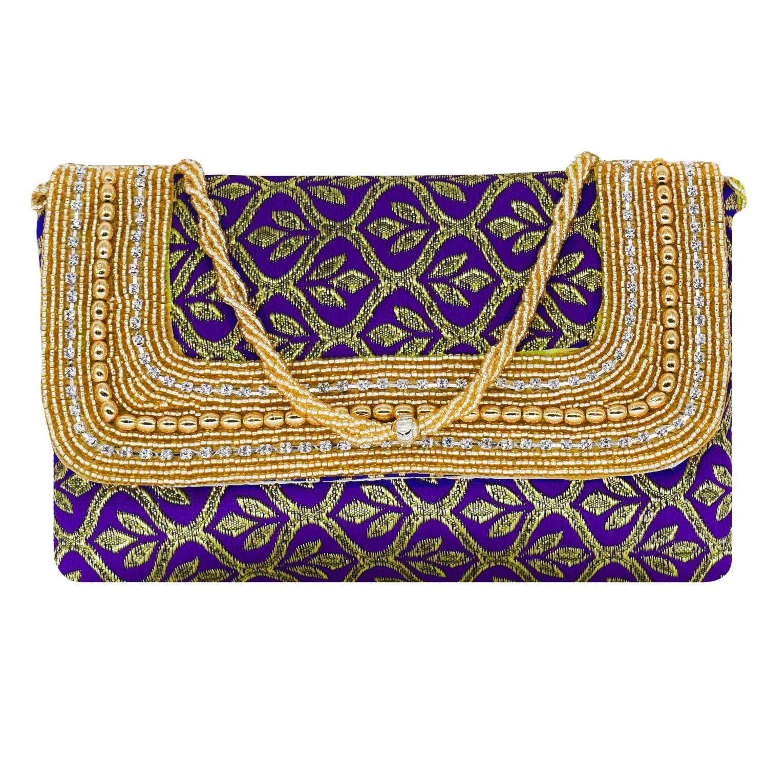 Ethnic Beads and Diamond Studded Silk Clutch (Purple) - Bagaholics Gift