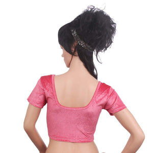 Readymade Velvet Fabric Stretchable Party Wear Blouse Pink - Bagaholics Gift