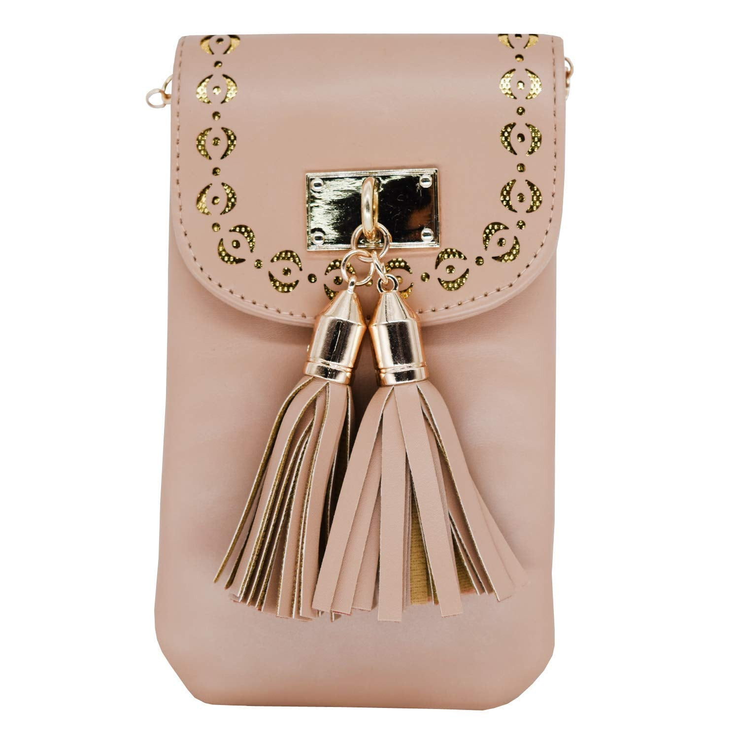 Leather Mobile Pouch with Waist Clip (Dark Gold) - Bagaholics Gift