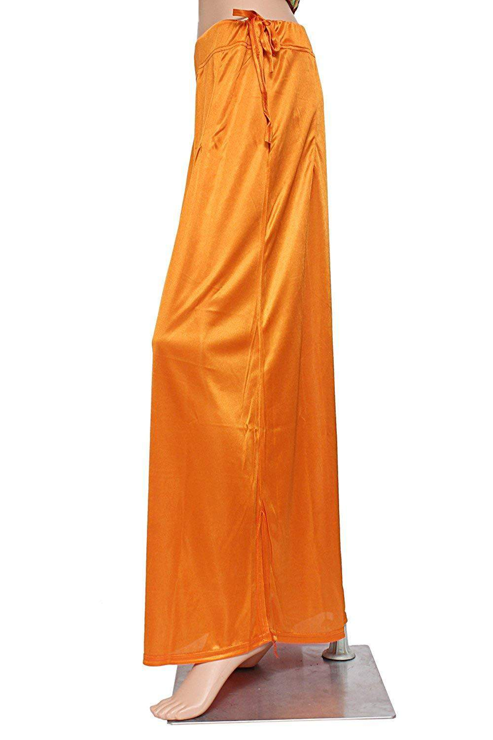 Premium Free Size Satin Women Sari Petticoat InSkirt For Saree (Yellow) - Bagaholics Gift