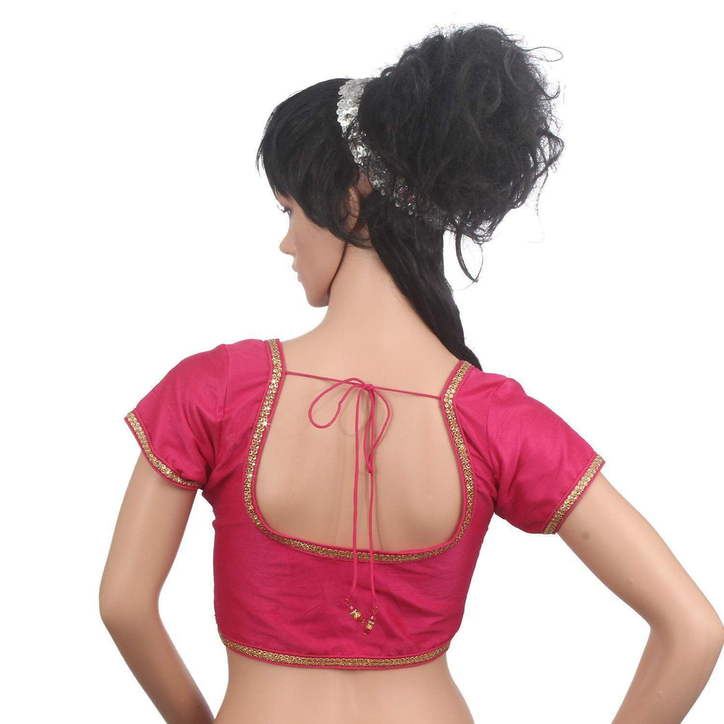 Golden Lace Sleeveless Readymade Designer Saree Blouse (Pink) - Bagaholics Gift
