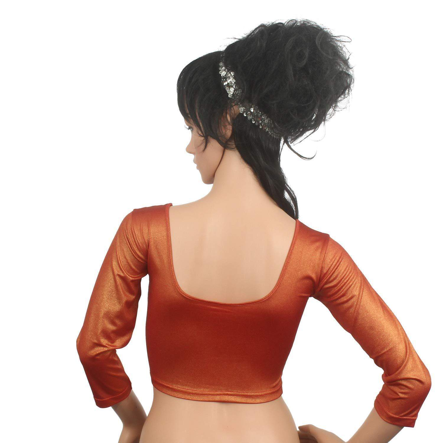 Readymade Stretchable Designer Party Wear Blouse Orange - Bagaholics Gift