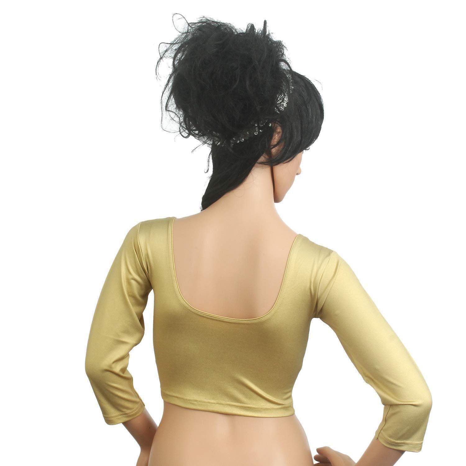 Readymade Stretchable Designer Party Wear Blouse (Gold) - Bagaholics Gift